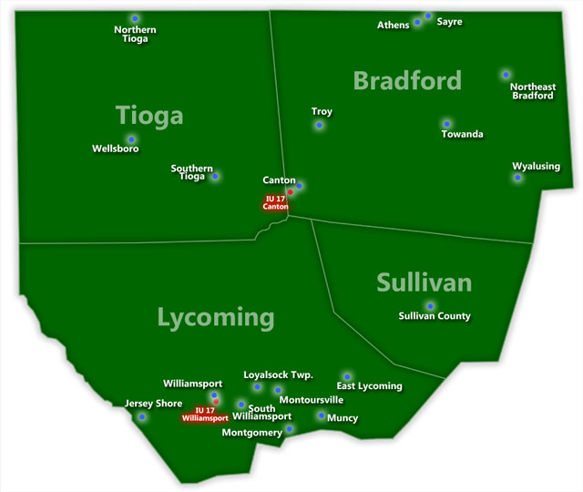 Map of Intermediate Uni 17 School Districts