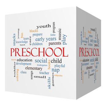 Preschool 3D cube Word Cloud Concept