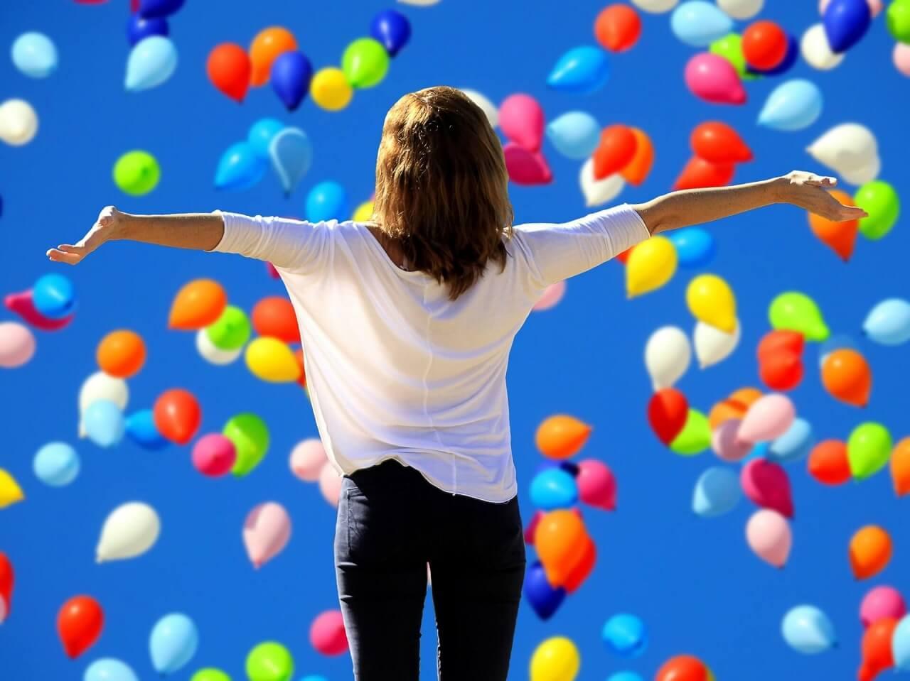 Woman look at balloons